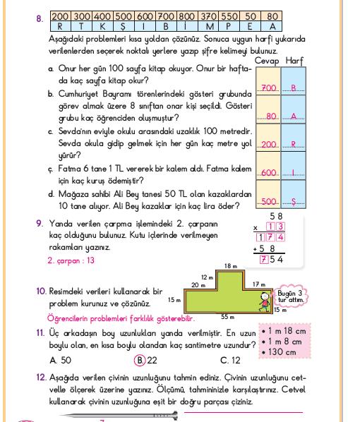3. Sınıf Berkay Yayınları Matematik Ders Kitabı 164.Sayfa Cevapları
