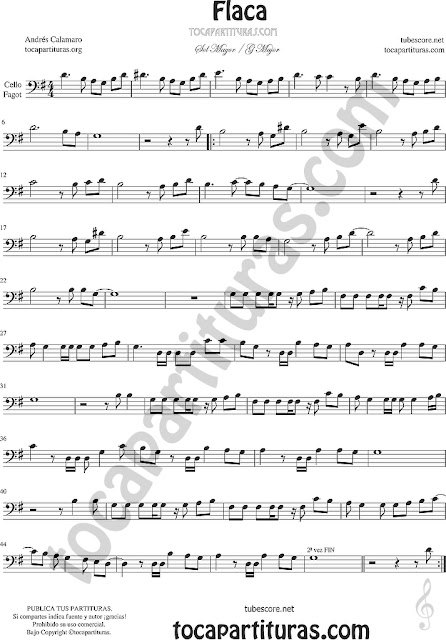 Violonchelo y Fagot Partitura de Flaca Sheet Music for Cello and Bassoon Music Scores