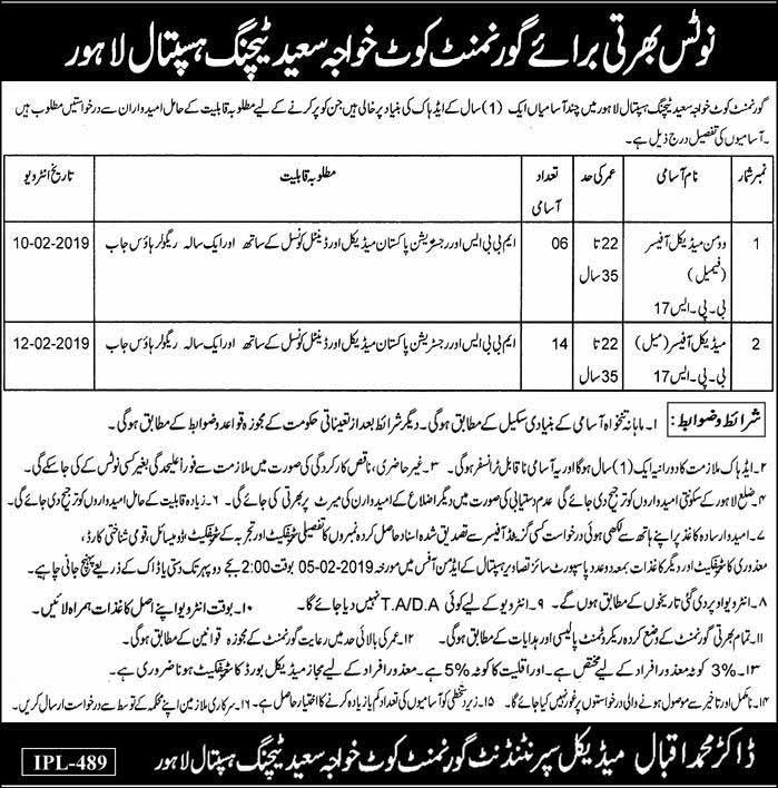 Govt Kot Khawaja Saeed Teaching Hospital 20 Jan 2019 Jobs