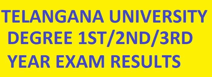 Telangana University Degree 1st/2nd/3rd Year Results