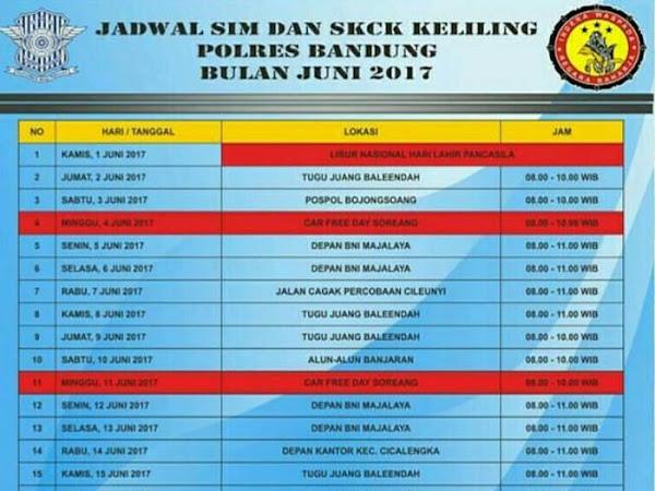 Jadwal Layanan SIM dan SKCK Keliling Polres Bandung Bulan Juni 2017