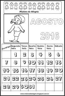 Calendário de 2016 - agosto