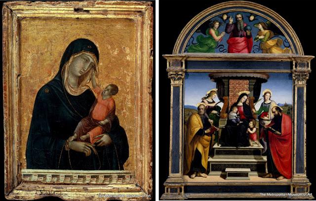 """Nova York - Museu Metropolitan - """"Madona com o Menino"""", de Duccio di Buoninsegna, e """"Madona com o Menino e Santos"""", de Rafael"""