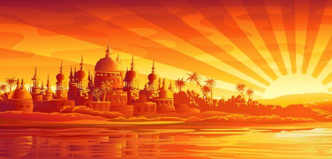 Kaeda vector mania Masjid di sore hari vector
