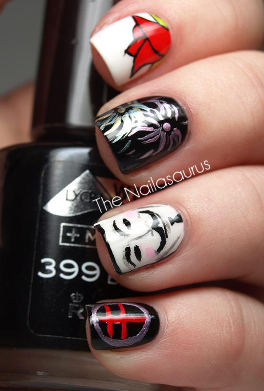 Day 23 Inspired By A Movie V For Vendetta Nail Art The Nailasaurus Uk Nail Art Blog