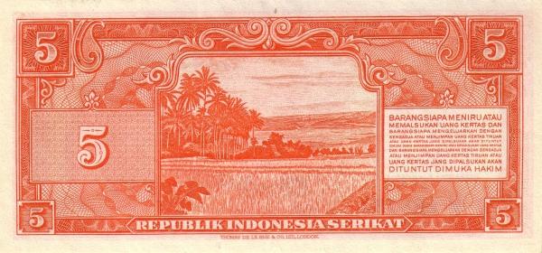 lima rupiah versi republik indonesia serikat belakang