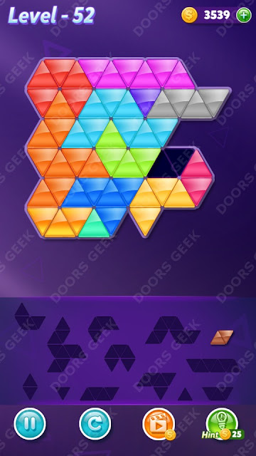 Block! Triangle Puzzle Champion Level 52 Solution, Cheats, Walkthrough for Android, iPhone, iPad and iPod