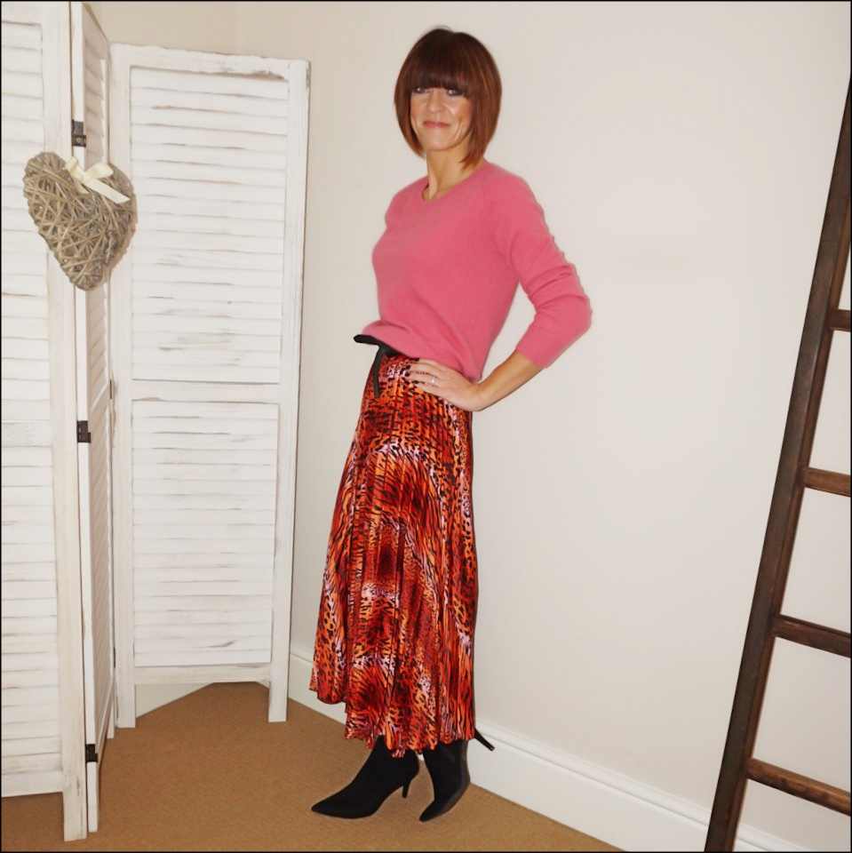 my midlife fashion, acne studios crew neck mohair jumper, isabel marant etoile leather wrap around belt, asos satin animal print pleated maxi skirt, marks and spencer stiletto heel velvet ankle boots