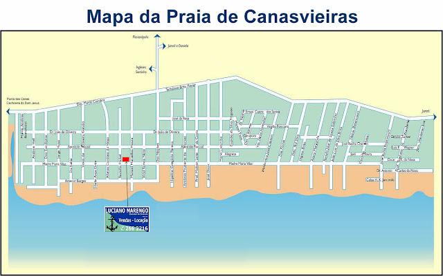 Mapa da Praia de Canasvieiras - Florianópolis
