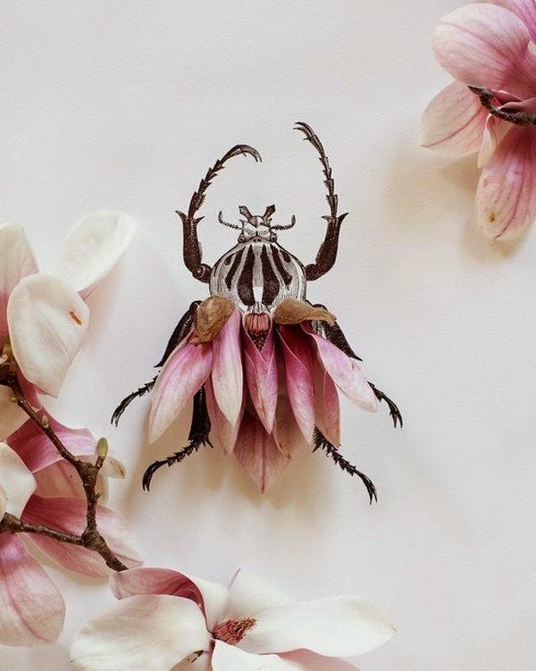 creatividad con tinta y flores hermosas