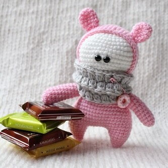 Кукла Розовая козявка амигуруми