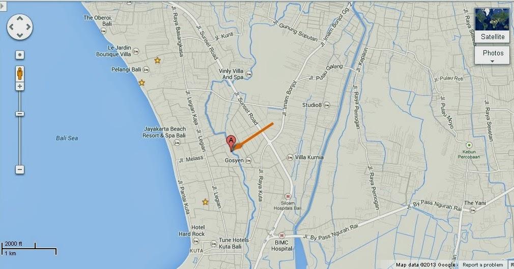 Detail The Bungy Company Seminyak Bali Location Map | Bali ...