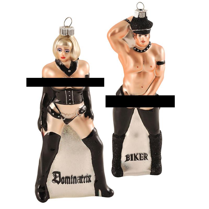 dominatrix and biker ornaments