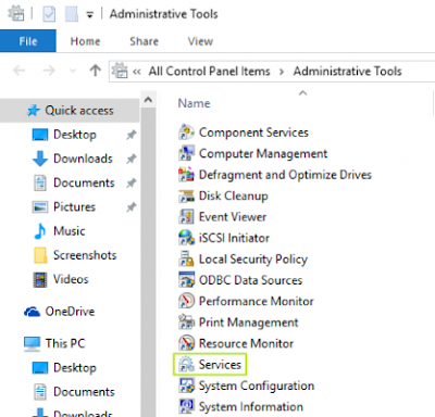 Isi Administrative Tools dari Control pada Windows 10