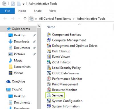 Isi Administrative Tools dari Control pada Windows 10