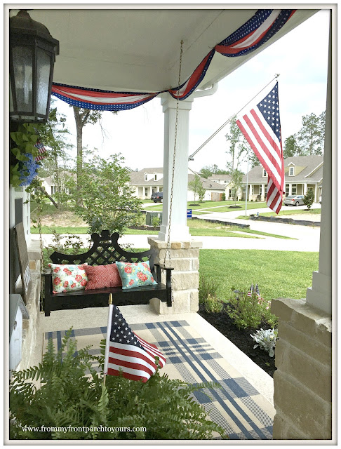 Farmhouse-Fourth of July-Patriotic-Bunting-Porch Swing-Grandin Road-Pioneer Woman- Front Porch-From My Front Porch To Yours