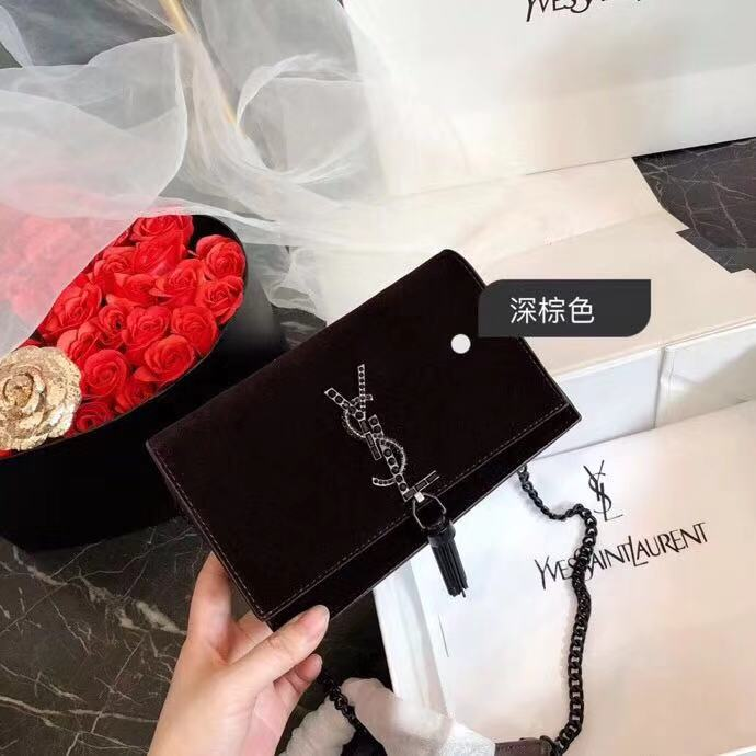 5e4a4c044ede7 SAINT LAURENT PARIS YSL Kate Chain Wallet with Tassel in Velours And  Crystals 491521GVO5U1000