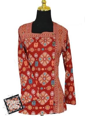 Model Baju Batik Kancing Samping Kerja Kantor