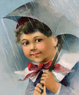 Clipart Image of a Little Girl Holding an Umbrella in the Rain