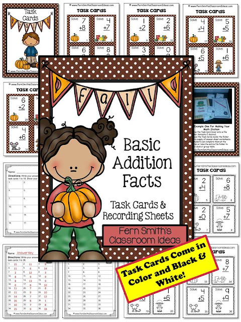 Fern Smith's Classroom Ideas Fall Addition and Subtraction Task Cards and Printables at TeacherspayTeachers Including Eight Free Task Cards in the Preview Download.