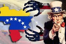 Ilustração do Tio Sam apontando dedo e pondo as mãos sobre a Venezuela