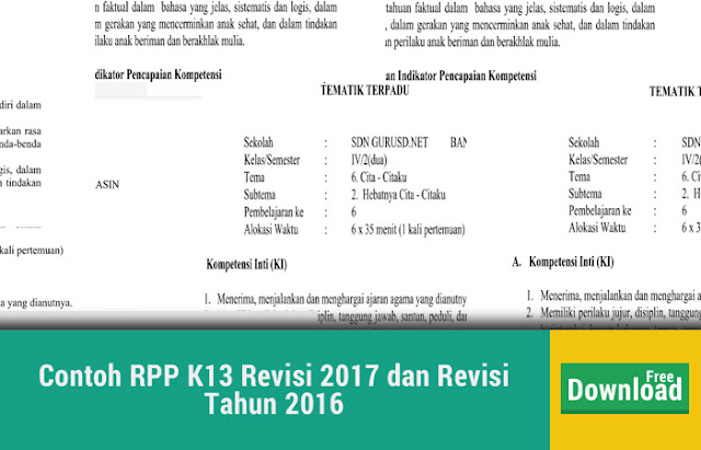 Contoh RPP K13 Revisi 2017