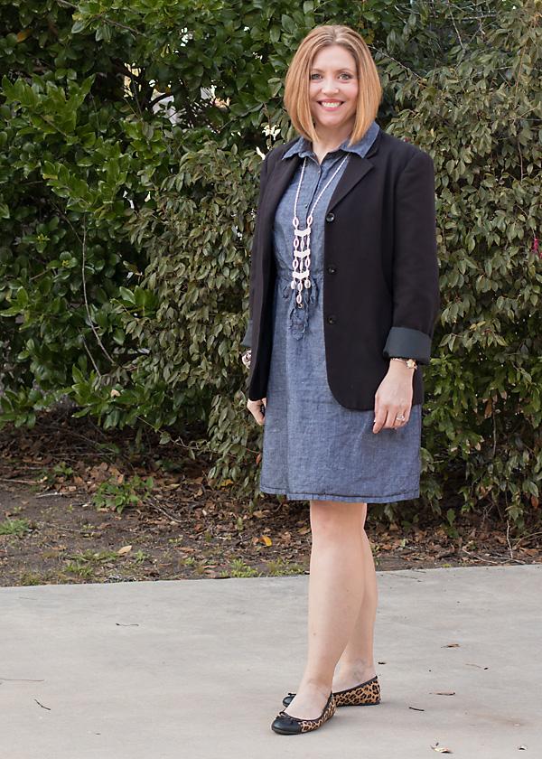 Chambray dress and a blazer