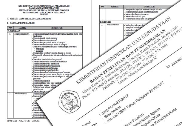 Kisi-Kisi Ujian Sekolah (US/M)  Tahun 2017 untuk SD MI SDLB dan Paket A
