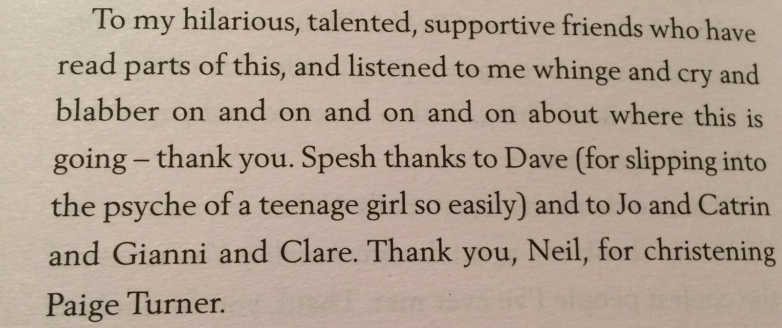 The acknowledgements of Bookshop Girl by Chloe Coles