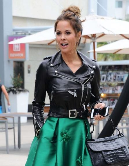 Brooke Burke in Green Dress and Leather Jacket in Hollywood