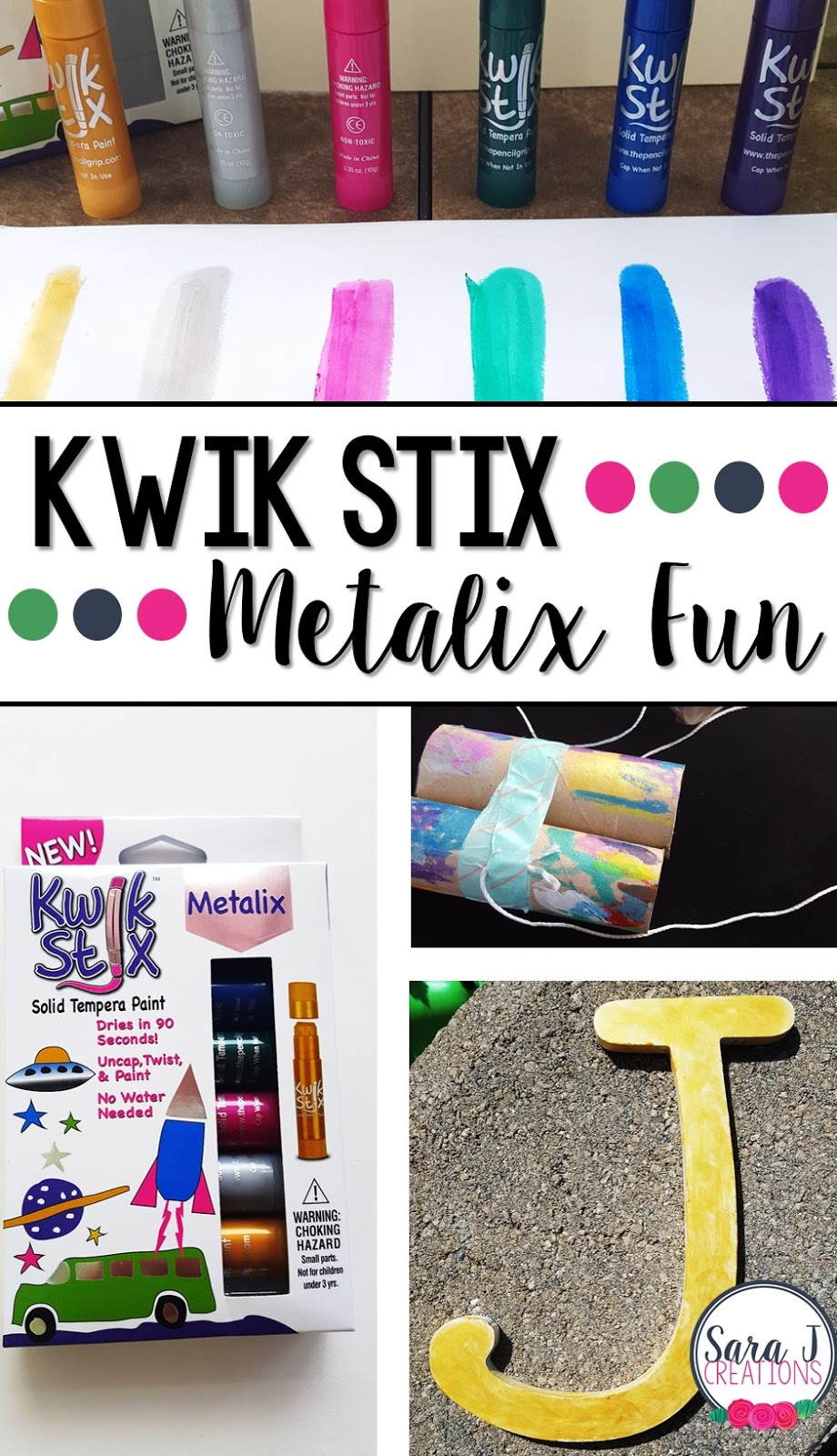 Kwik Stix are the best paint sticks for kids.  They are so easy to use and make art projects mess free.  They now come in metalix which means shimmery goodness!  The gold needs all the heart eyes!  Here's a few ideas for kids's projects and home decor projects with these awesome paint sticks.