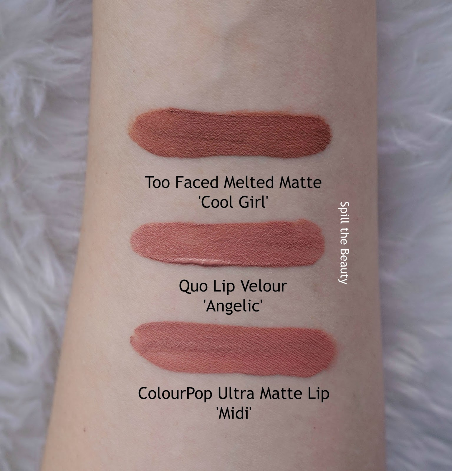 quo new 2017 review swatches lip velour angelic comparison dupe too faced cool girl colourpop uml midi