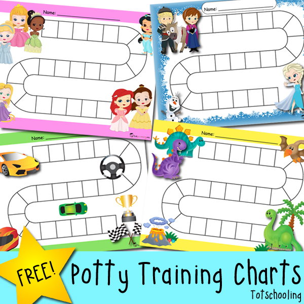 free potty training progress and reward charts featuring frozen theme princesses dinosaurs and race