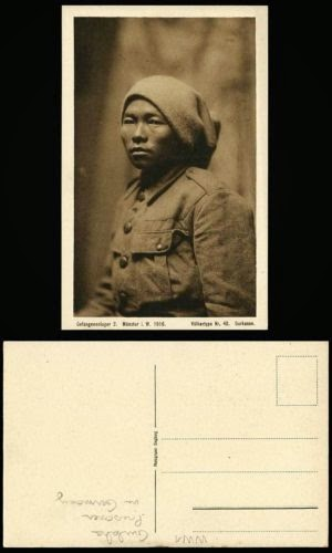 WW1 1916 POW Prisoner of War in Germany Gurkha Gorkas India Soldier Old Postcard