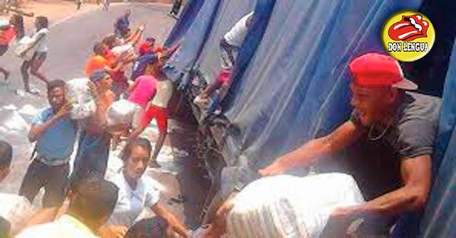 Saquean gandola con 50.000 kilos de azúcar en El Tigre