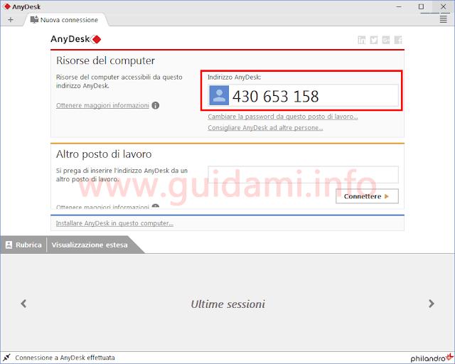 AnyDesk PC scheda Nuova connessione