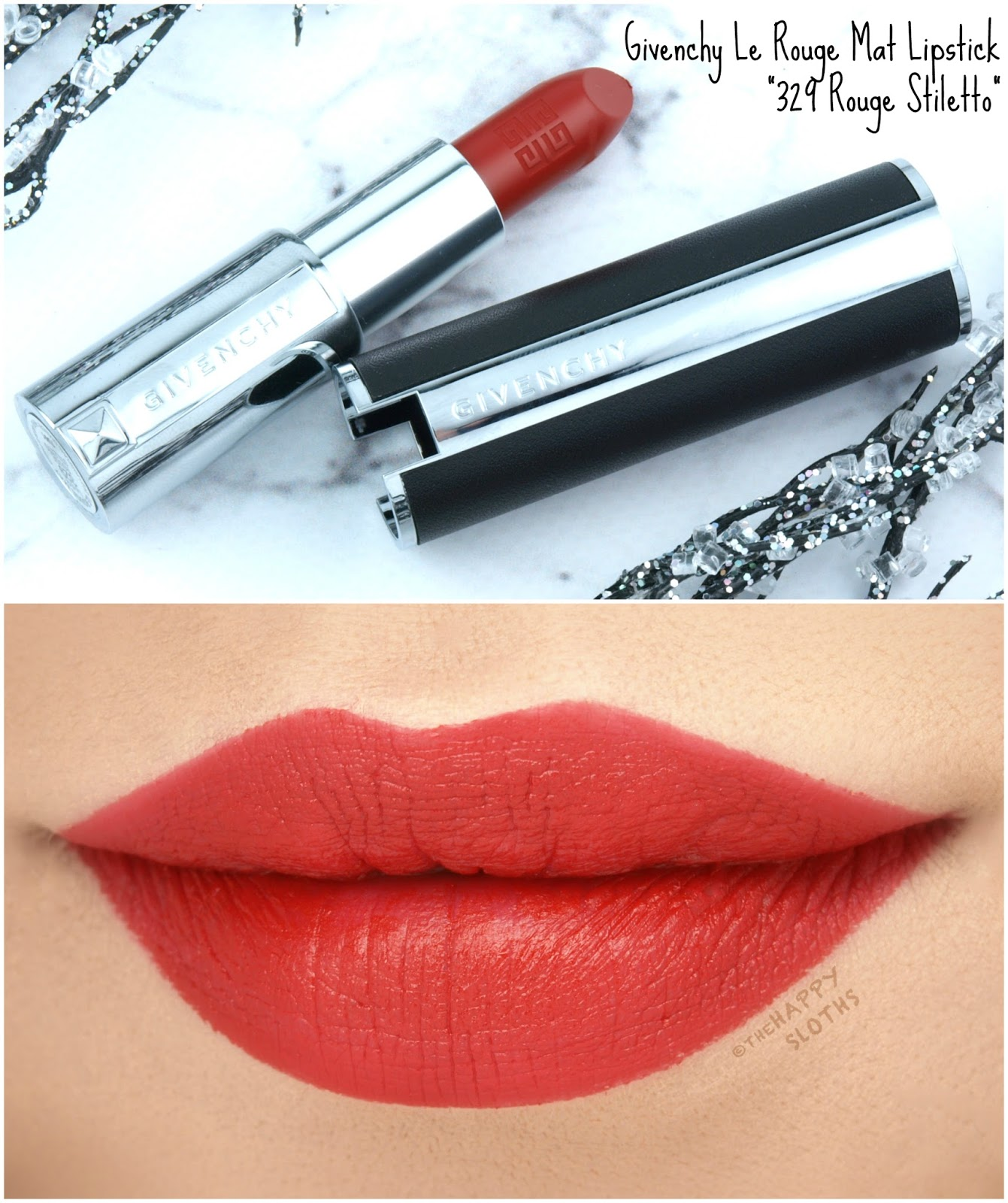 "Givenchy | NEW Le Rouge Mat Lipstick in ""329 Rouge Stiletto"": Review and Swatches"