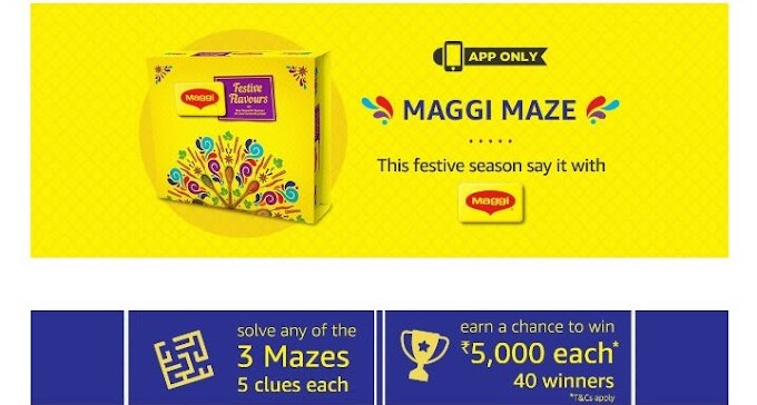 (Answer Added)Amazon Maggi maze – Answer and Win Rs 5000