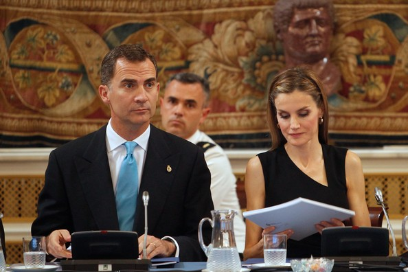 Prince Felipe and Princess Letizia at a meeting with members of Principe de Asturias Foundation