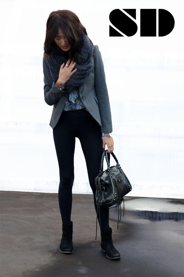 e2a8e6a6843 (Zara snake print blouse, Primark circle scarf, Reiss blazer, J Brand  leggings, Carvela boots, Balenciaga bag)
