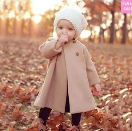 Thickened Button Solid Color Round Neck Woolen Coat (age 0-5 years old)- price: US$14.19