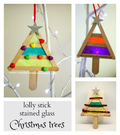 Lolly Stick Stained Glass Christmas Tree Ornaments - Sun Hats & Wellie Boots: Lolly Stick Stained Glass Christmas Tree