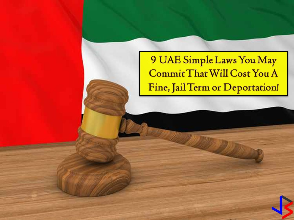 "It said that ignorance of the law excuses no one. This is not only applicable here in the Philippines but also in other countries where stricter implementation of the law is enforced like in the United Arab Emirates (UAE) where many Filipinos resides or work as overseas workers.  So if you are an OFW in UAE, you should watch out with these nine simple laws that you might accidentally break and make you land into a difficult situation, get fined or prison.   1. Jaywalking  In Abu Dhabi alone, Some 50, 595 pedestrians were ticketed for crossing roads illegally last year. The Traffic and Patrol Directorate advised pedestrians to use underpasses, bridges and zebra lines to cross the roads and urge motorist to slow down and give them the right of way. This traffic violation will incur you a fine of Dh400.  2. Photography  Taking and publishing pictures of people without their permission is considered illegal in the UAE. It is considered a breach of privacy especially if the affected party files a complaint against you.   Fines for cybercrime in the UAE ranges from Dh150,000 to Dh200,000 along with a jail time.  There is more. The UAE's Ministry of Interior says that snapping photos or videos of traffic accidents and posting them online is a violation of the law. It is also illegal to post images or videos of aviation accidents. Anyone who found guilty of this may face life imprisonment and/or a fine of Dh50,000 to Dh3 million, as well as deportation.  3. Texting in foul language  Watch your mouth especially if you are in UAE. Don't you know that you cannot just drop the F-bomb in public? Yes, because this is a criminal offense. Aside from this, it is also against the law to use abusive language in text or chat such as 'middle finger' emoji.  Under the UAE's cybercrime laws, anyone convicted faces a fine of up to Dhs500,000, a prison sentence, and deportation. Article 20 states that slander, using abusive language, or insulting another person or entity using a computer network or any information technology means is a punishable crime.   4. Flashing your middle finger  Flashing your middle finger in UAE is offensive and will get you deported. This hand gesture is a violation of dignity and honor under the UAE Penal Code. According to the Federal Penal Law, deportation has been compulsory against those found guilty of flashing their middle finger in public for several years now.  5. Dirty cars and washing your car in public  Your unkempt and dirty vehicle may cost you Dh500 fines. Authorities have warned the public not to leave their cars unwashed for a long time. It said that this is uncivilized behavior that can tarnish the aesthetic appearance of the city. Aside from this don't you know that washing your car in public parking space or in front of buildings in UAE is illegal? Also, there is a regulation that bans washing a car in residential areas.    ""This violation affects the environment as the dirty water breeds diseases and fouls the area. It also sullies the aesthetic look of the city and makes the place messy,""  Car owners who pay illegal car washers on public streets or residential areas will be fined Dh 250 while illegal car washers will be fined Dh500.  6. Littering, Spitting, and Burning Waste  Anyone who caught littering while walking or throwing out garbage from a vehicle may cost a fine of Dh500.  This includes throwing your cigarette buts on the road, in the streets or in the park. In 2017, in Dubai alone, 1,800 people are fined for littering in public places while 500 residents were also fined for spitting on public roads. On the other hand, you may be fined of Dh100 for disposing of waste by burning it in an unauthorized manner.  7. A Bounced Cheque  Under UAE Law, the criminal court may convict the person who issues a check that bounced if the receiver files a complaint in the police station. The conviction will be based on evidence provided by the complainant. The criminal court may give the issuer of the cheque a two option either he will pay the money or go to jail.  8. Fund Raising Activity  Before you solicit money for a cause or charity, make sure you have a permit to do so. Organizations are required to seek authorization for activities and register the personal details of volunteers. Under the law, it is illegal to conduct volunteering and fundraising activities without authorization.  9. Sharing Secrets  Article 379 of the UAE Penal Code states that punishment by detention for a period of not less than one year and by a fine of not less than Dh20,000, or either of these two penalties, shall apply to anyone who is entrusted with a secret by virtue of his profession, trade, position or art and who discloses it in cases other than those lawfully permitted.   Privacy, defamation, and confidentiality are taken very seriously under UAE laws. You are also not allowed to publish information or make false defamatory or accusatory statements that could raise public hatred or contempt against an individual or enterprise."