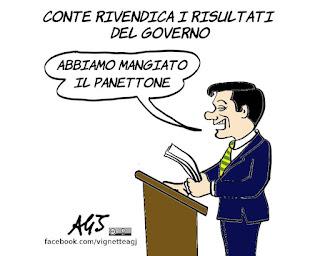 Conte, conferenza stampa, governo del cambiamento, risultati, politica, economia, vignetta, satira