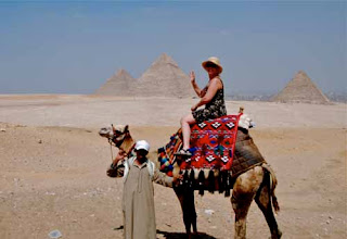 Pat Dunlap Riding Camel Great Pyramids of Giza
