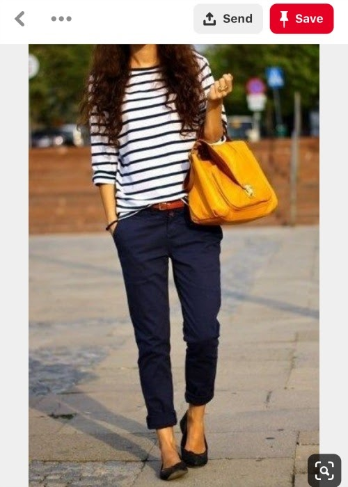 How to style clothes for moms with Pinterest - navy pants and striped shirt