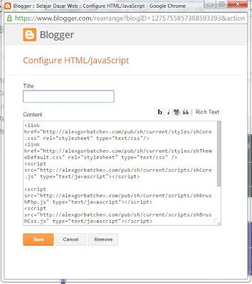 cara mengisi blogger widget