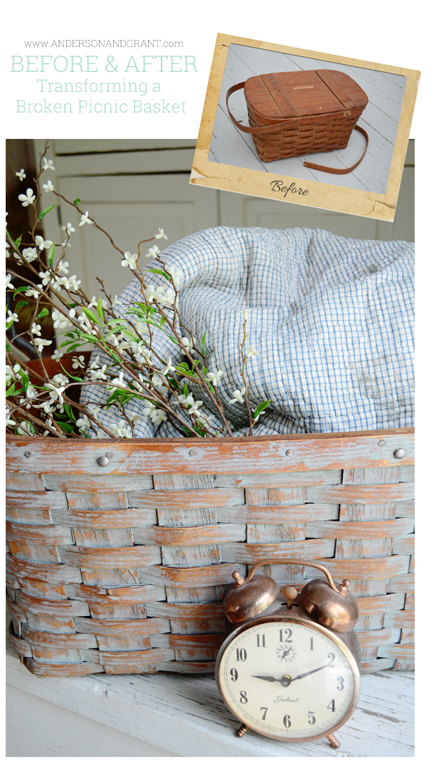 What can you do with a picnic basket that has a broken handle?  Why not transform it into a decorative storage basket by removing the lid and handles?  | www.andersonandgrant.com