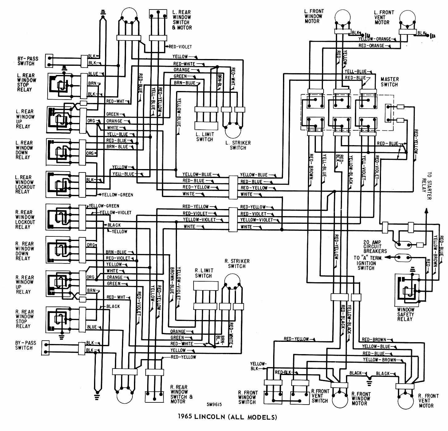 lincoln (all models) 1965 windows wiring diagram | all ... 2000 ford windstar power windows wiring diagram