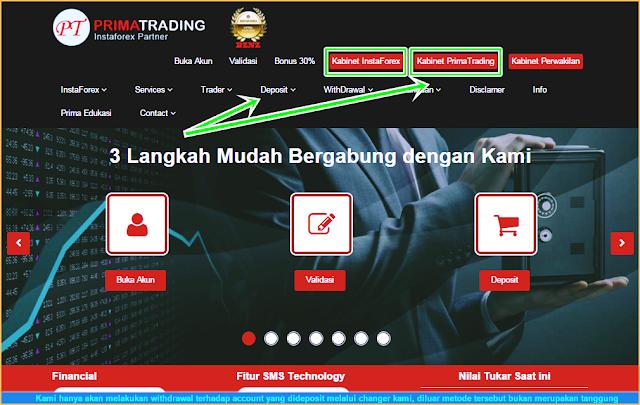 Gambar dan Petunjuk Deposit Dana Akun Trading InstaForex